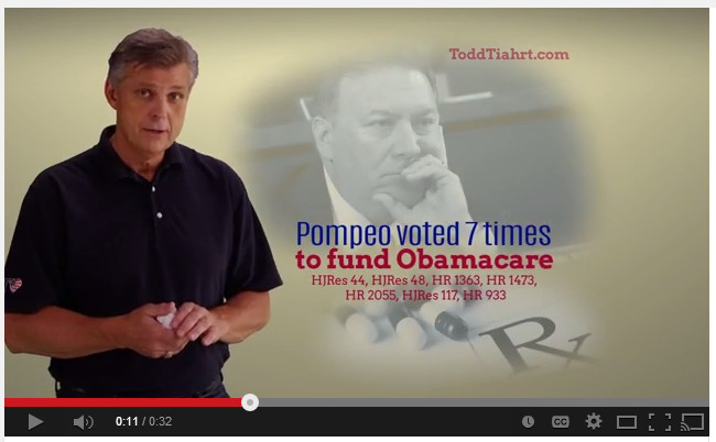Did Rep. Mike Pompeo vote to fund Obamacare?